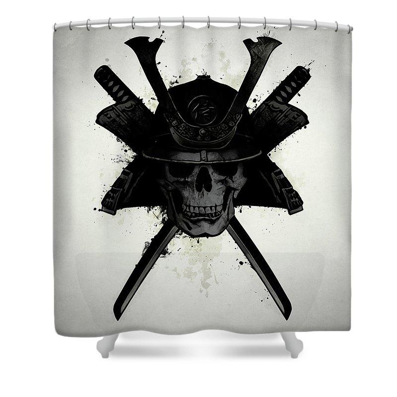 Samurai Shower Curtain Featuring The Digital Art Skull By Nicklas Gustafsson