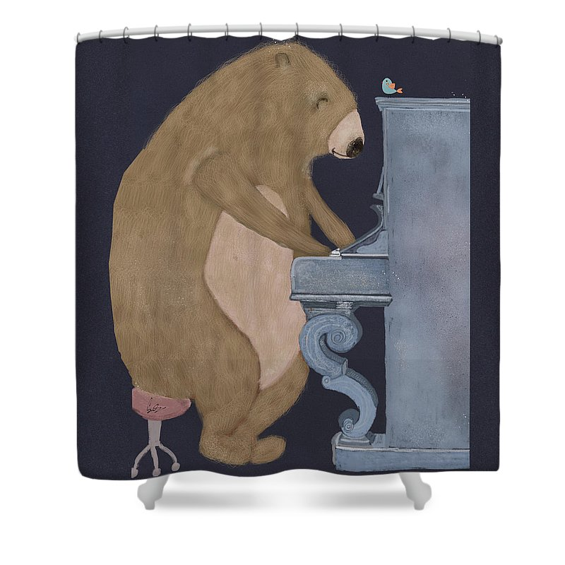 Bears Shower Curtain featuring the painting Boogie Bear by Bri Buckley