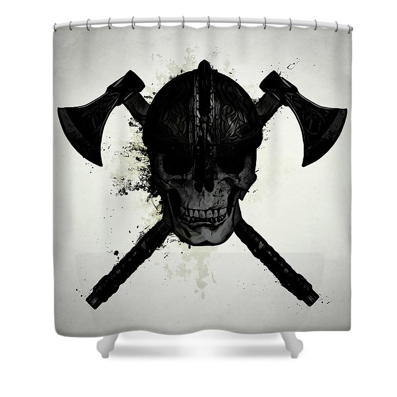 Viking Shower Curtain Featuring The Digital Art Skull By Nicklas Gustafsson