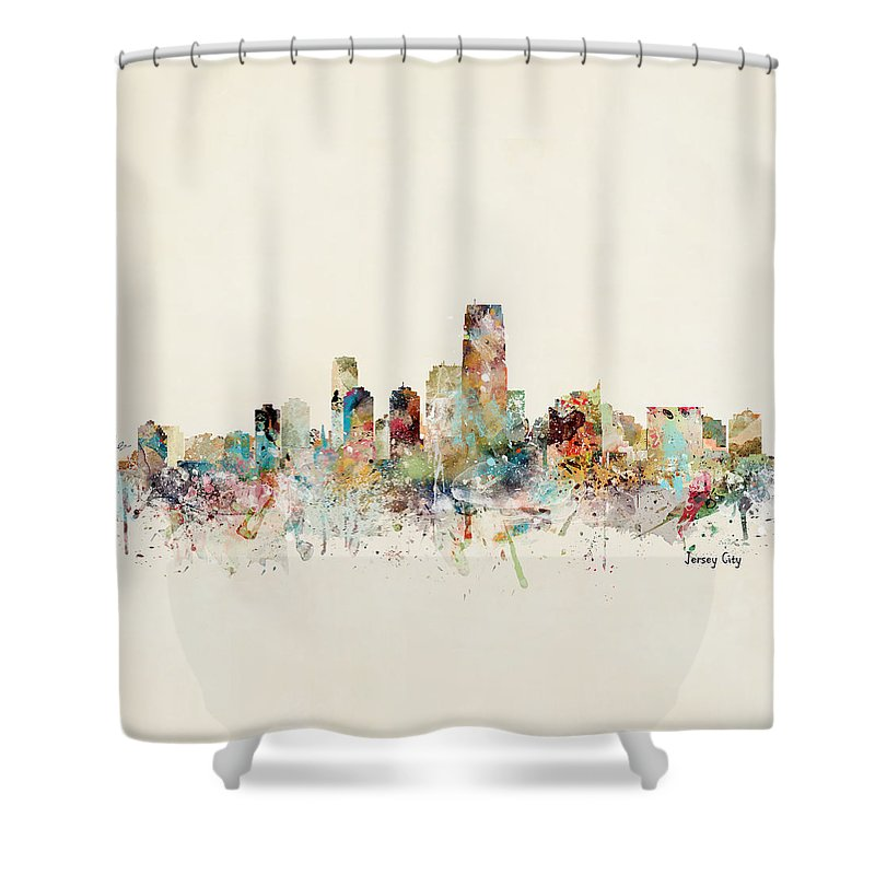 Jersey City Shower Curtain featuring the painting Jersey City New Jersey Skyline by Bri Buckley