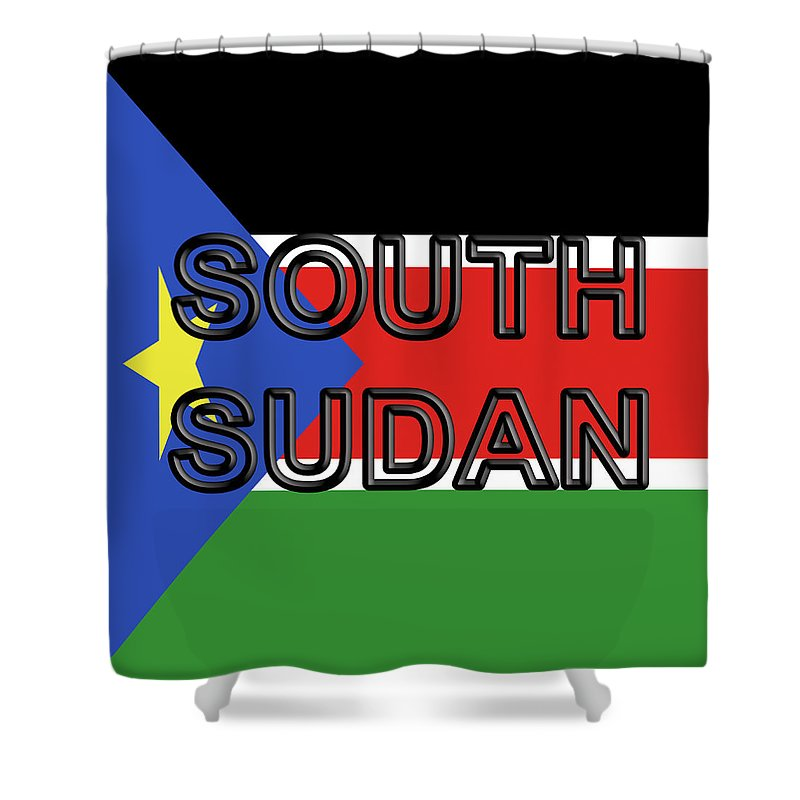 Africa Shower Curtain featuring the digital art Flag Of South Sudan Word by Roy Pedersen