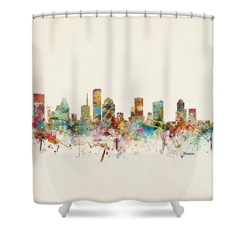 Houston Shower Curtain featuring the painting Houston Texas Skyline by Bri Buckley