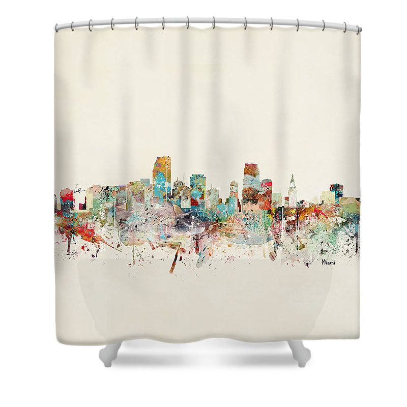 Miami Shower Curtain featuring the painting Miami Florida City Skyline by Bri Buckley
