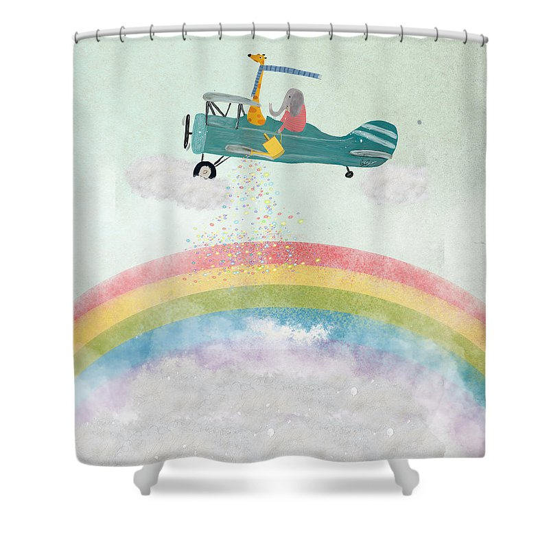 Rainbows Shower Curtain featuring the painting Creating Rainbows by Bri Buckley