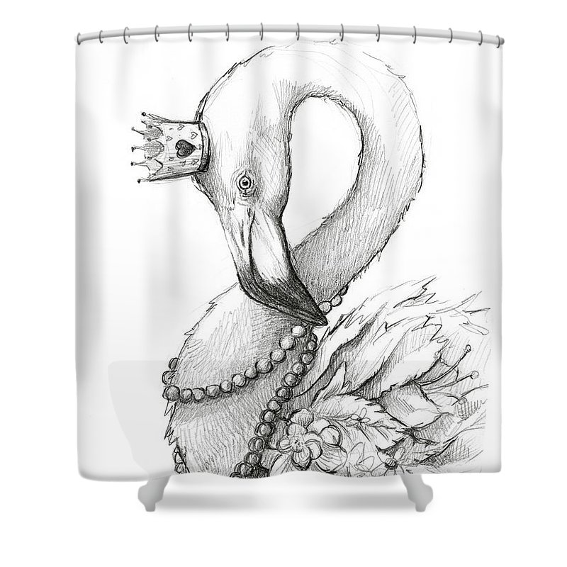 Flamingo Shower Curtain featuring the painting Flamingo In Pearl Necklace by Olga Shvartsur