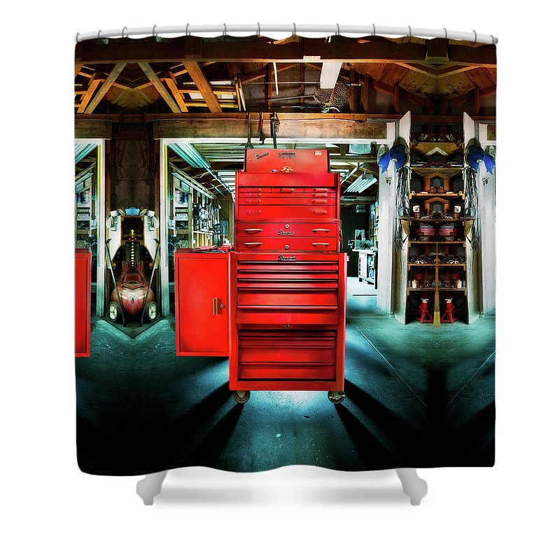 Box Shower Curtain featuring the photograph Mechanics Toolbox Cabinet Stack In Garage Shop by YoPedro