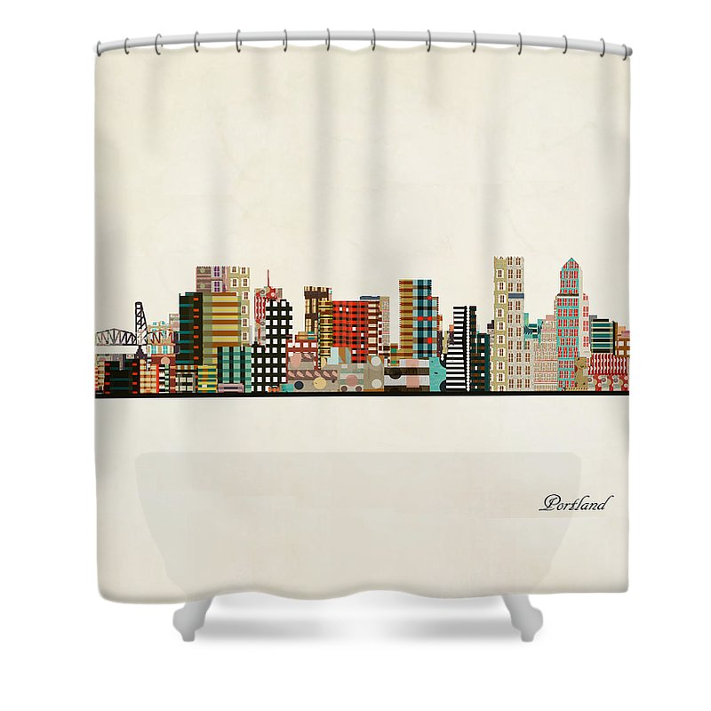 Portland Shower Curtain featuring the painting Portland Skyline by Bri Buckley