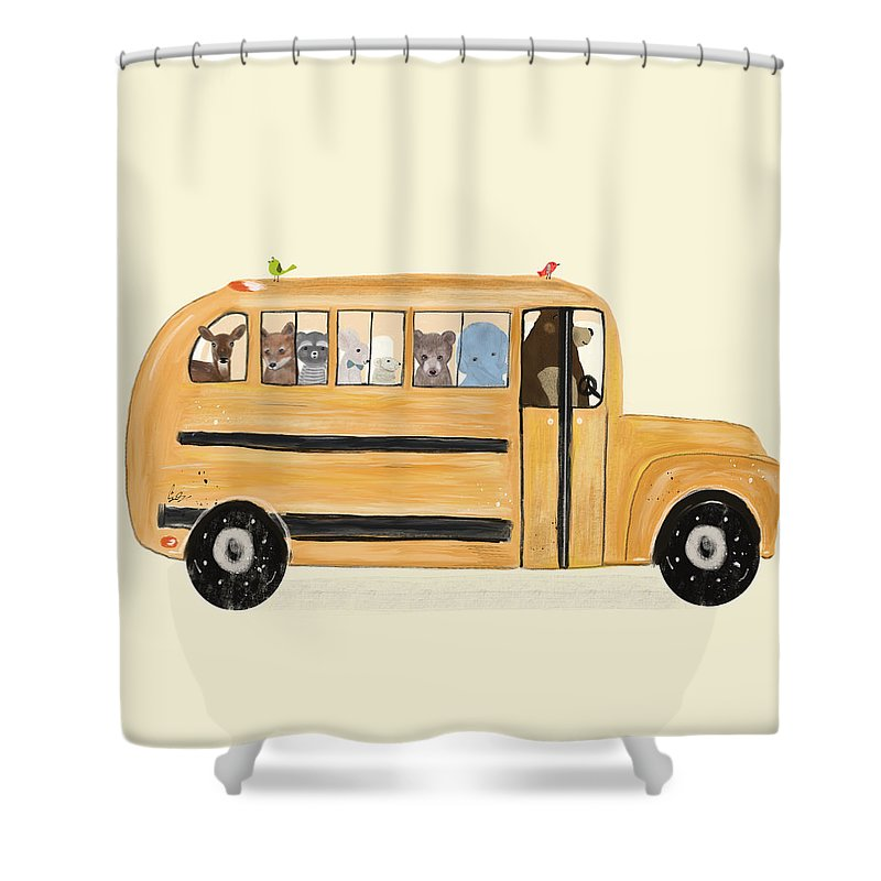 Animals Shower Curtain featuring the painting Little Yellow Bus by Bri Buckley