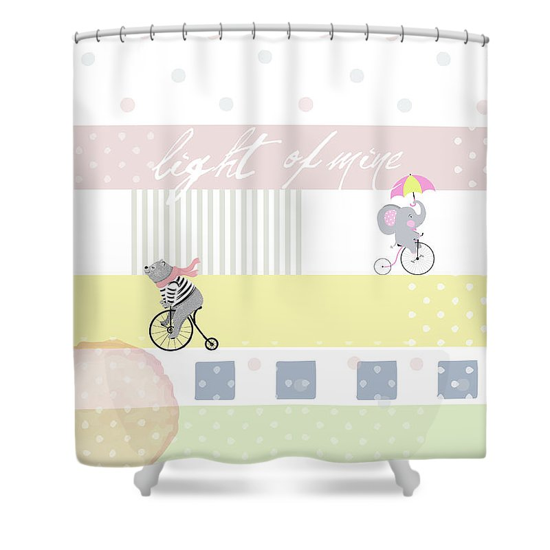 Children Shower Curtain featuring the digital art Light Of Mine by Claire Tingen