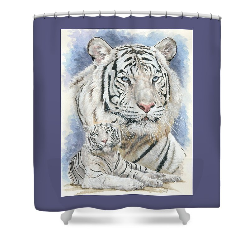 Big Cat Shower Curtain featuring the mixed media Dignity by Barbara Keith