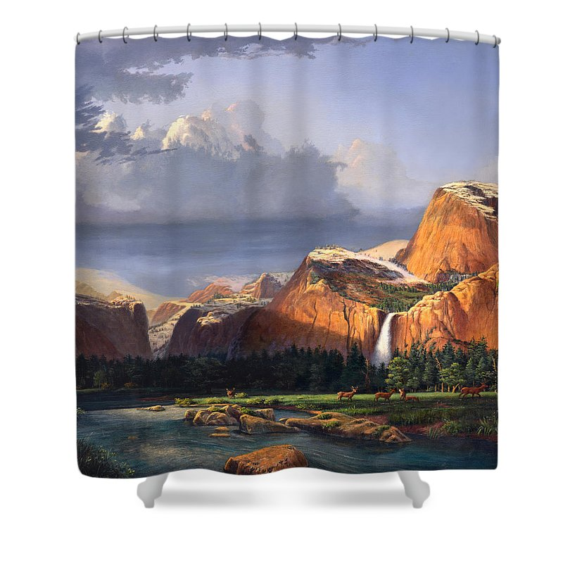 American Shower Curtain featuring the painting Deer Meadow Mountains Western Stream Deer Waterfall Landscape Oil Painting Stormy Sky Snow Scene by Walt Curlee
