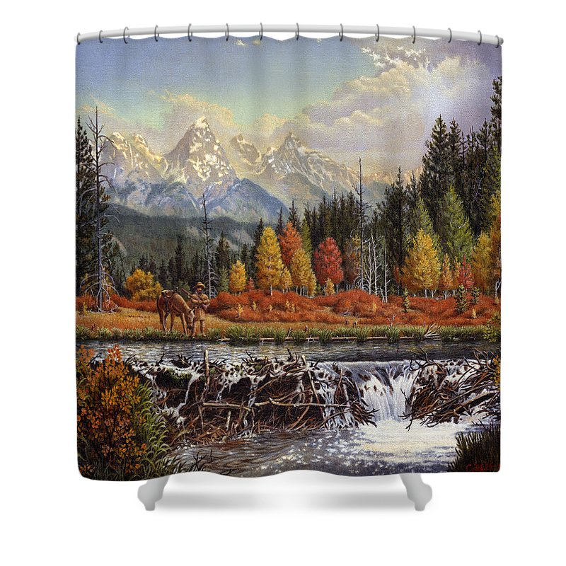 Western Mountain Landscape Shower Curtain featuring the painting Western Mountain Landscape Autumn Mountain Man Trapper Beaver Dam Frontier Americana Oil Painting by Walt Curlee
