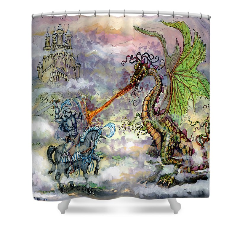 Knight Shower Curtain featuring the painting Knights N Dragons by Kevin Middleton