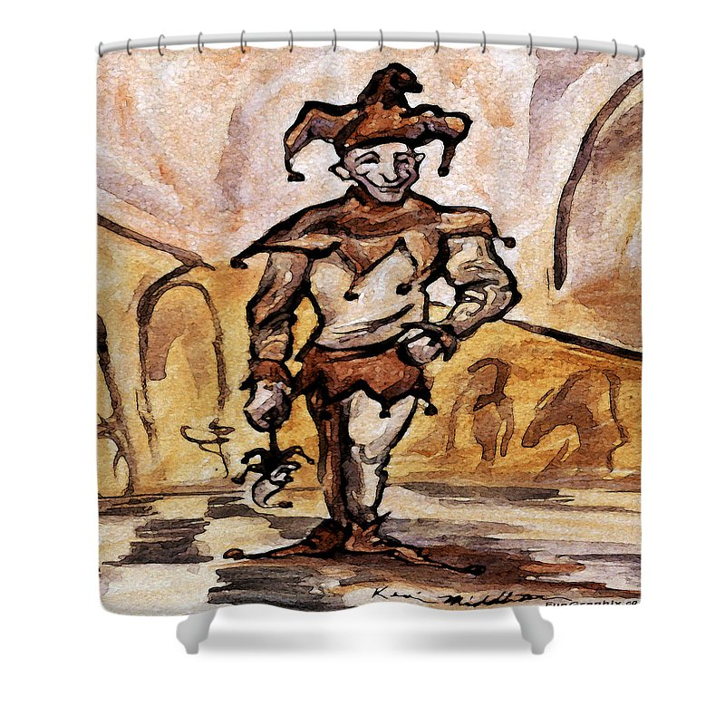 Jester Shower Curtain featuring the painting Court Jester by Kevin Middleton