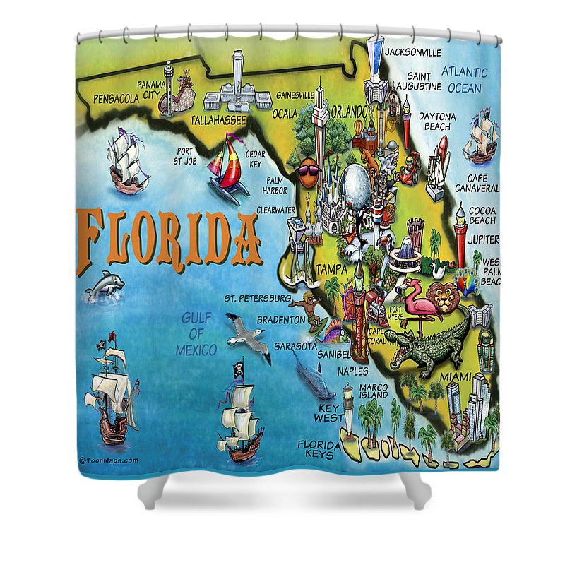 Florida Shower Curtain featuring the digital art Florida Cartoon Map by Kevin Middleton
