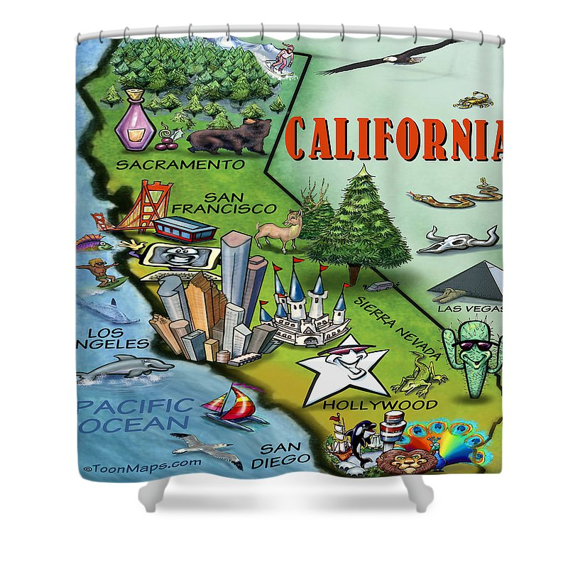 California Shower Curtain featuring the digital art California Cartoon Map by Kevin Middleton