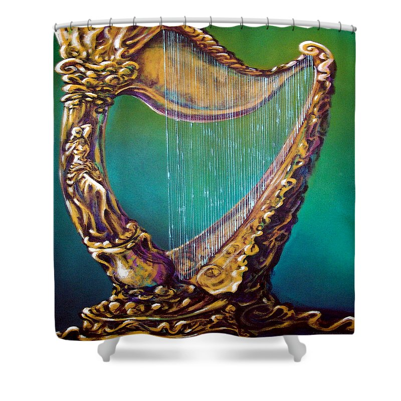 Harp Shower Curtain featuring the painting Harp by Kevin Middleton