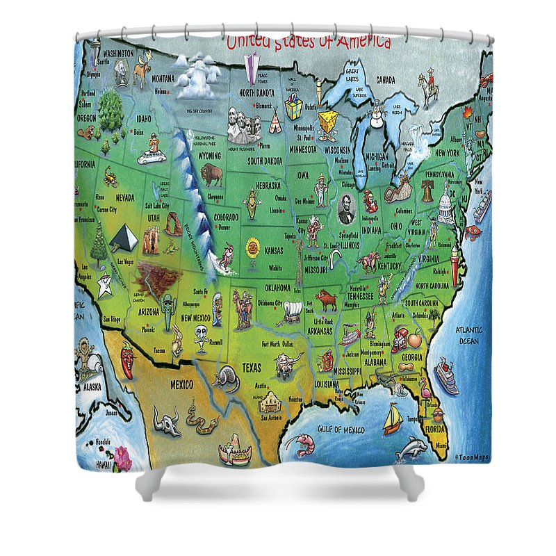Map Shower Curtain featuring the painting Usa Cartoon Map by Kevin Middleton