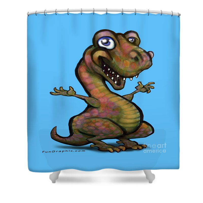 Baby Shower Curtain featuring the painting Baby T-rex Blue by Kevin Middleton