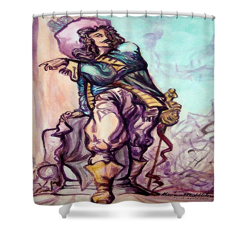 Musketeer Shower Curtain featuring the painting Musketeer by Kevin Middleton
