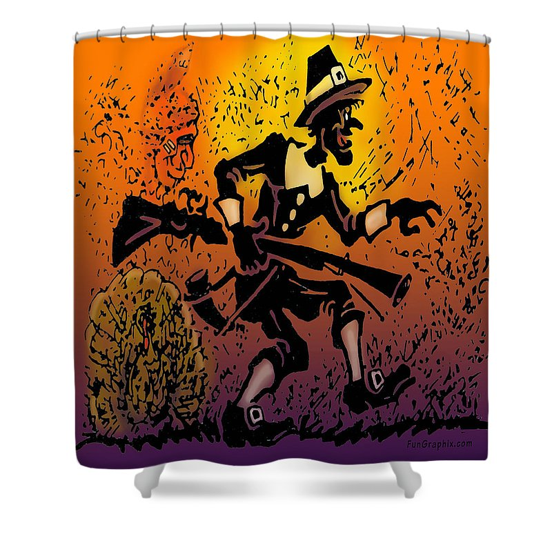 Thanksgiving Shower Curtain featuring the digital art Thanksgiving Pilgrim by Kevin Middleton