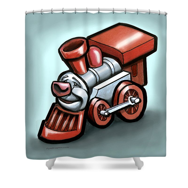 Train Shower Curtain featuring the digital art Toy Train by Kevin Middleton