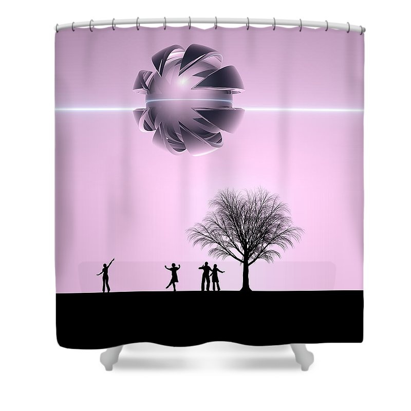 Science Fiction Shower Curtain featuring the digital art Ufo Sighting by Phil Perkins