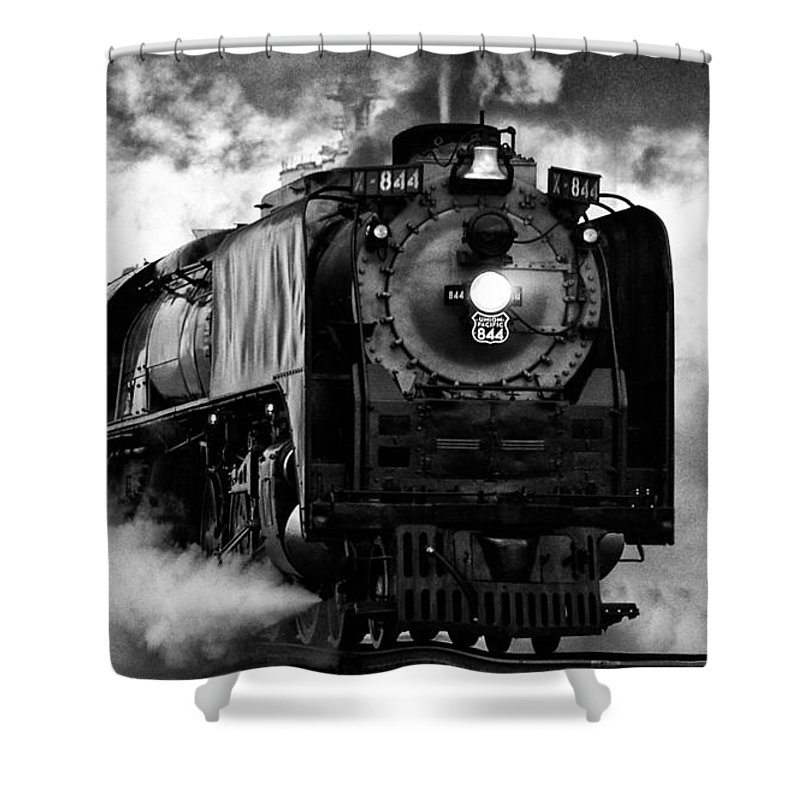 Locomotive Shower Curtain featuring the photograph Up 844 Steaming It Up by Bill Kesler