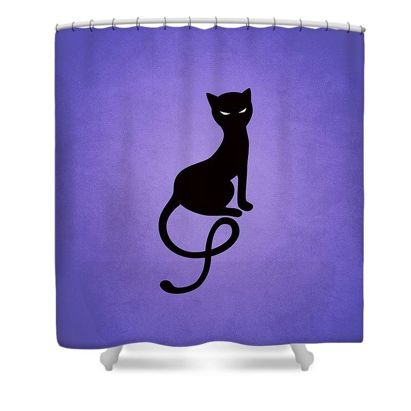 Cats Shower Curtain featuring the digital art Purple Gracious Evil Black Cat by Boriana Giormova