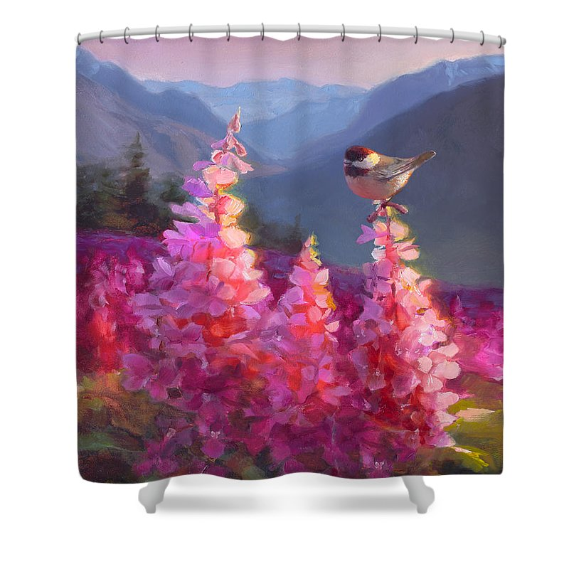 Alaska Art Shower Curtain featuring the painting Eagle River Summer Chickadee And Fireweed Alaskan Landscape by Karen Whitworth