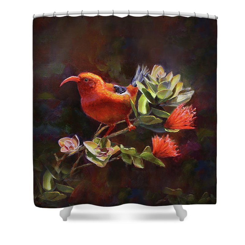 Hawaii Paintings Shower Curtain featuring the painting Hawaiian IIwi Bird And Ohia Lehua Flower by Karen Whitworth