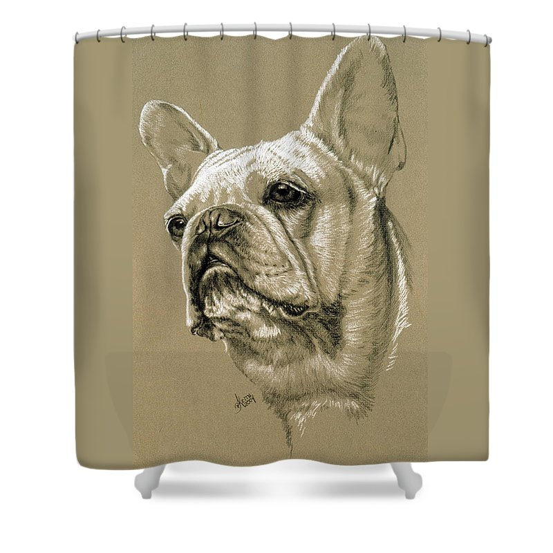 Dog Shower Curtain featuring the drawing French Bulldog by Barbara Keith