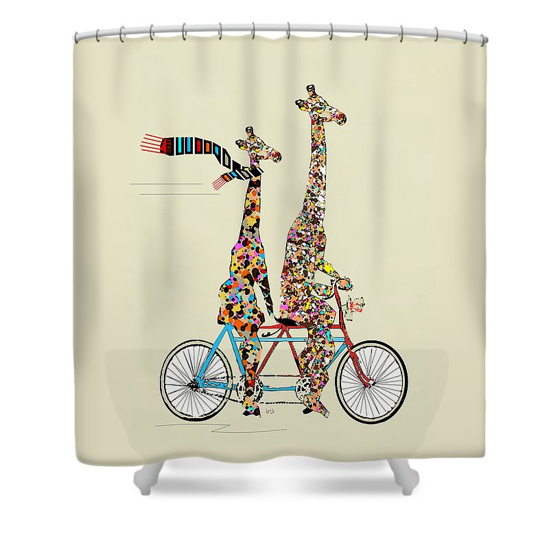 Tandem Bicycle Shower Curtains