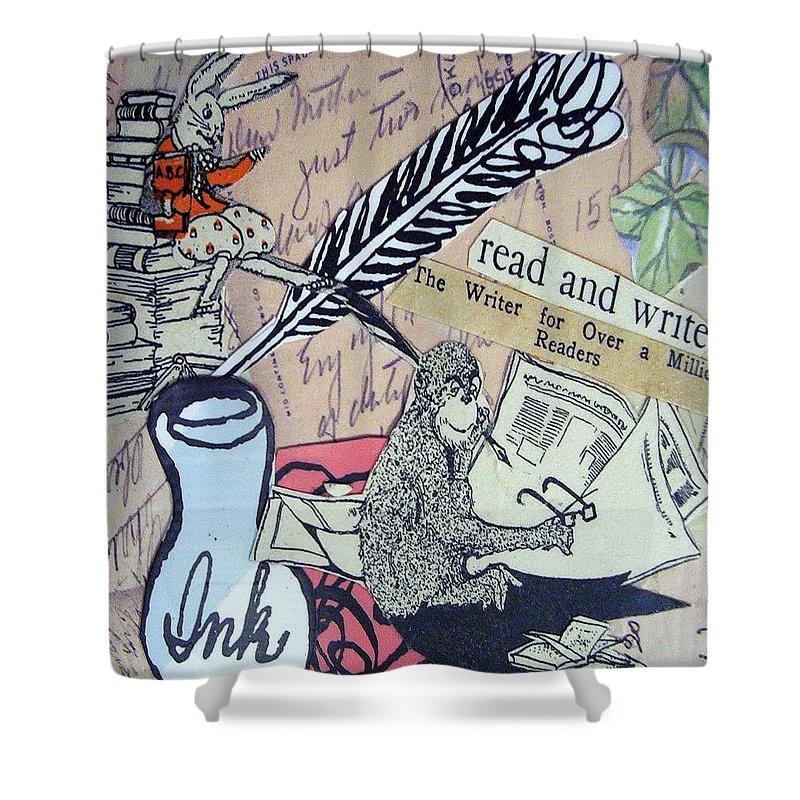 Book Shower Curtain featuring the drawing The Studious Rabbit and the Monkey by Eloise Schneider Mote