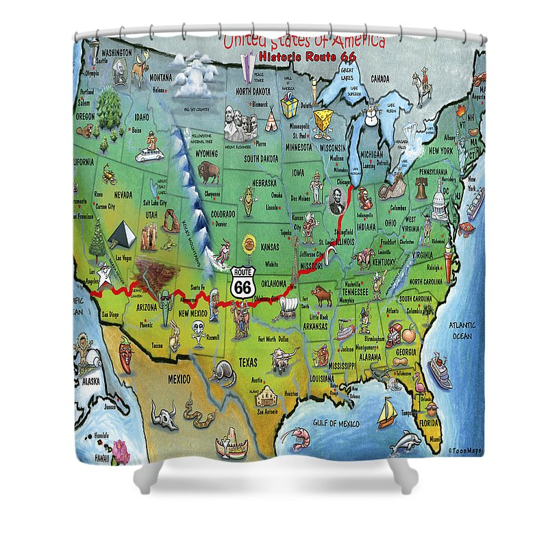 Map Of Old Route 66 Arizona.Historic Route 66 Cartoon Map Shower Curtain For Sale By Kevin Middleton