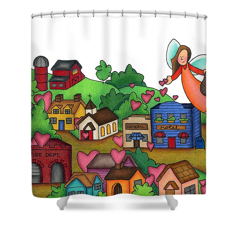 Angels Shower Curtain featuring the drawing Seeds Of Love by Sarah Batalka