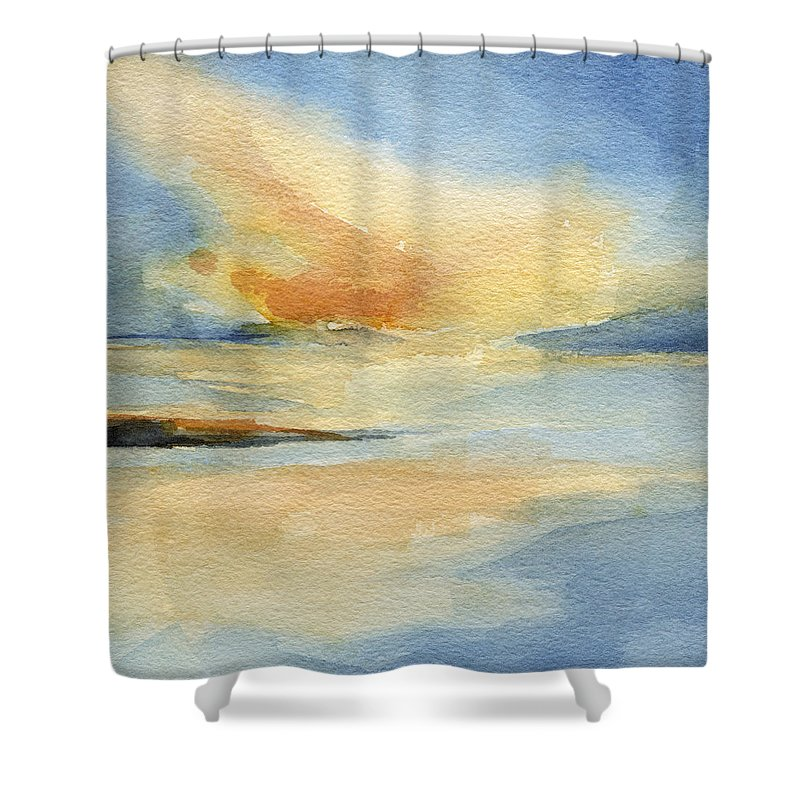 Seascape Shower Curtain Featuring The Painting Cape Cod Sunset By Beverly Brown