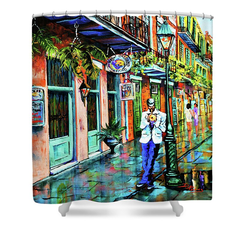 New Orleans Art Shower Curtain featuring the painting Jazz'n by Dianne Parks