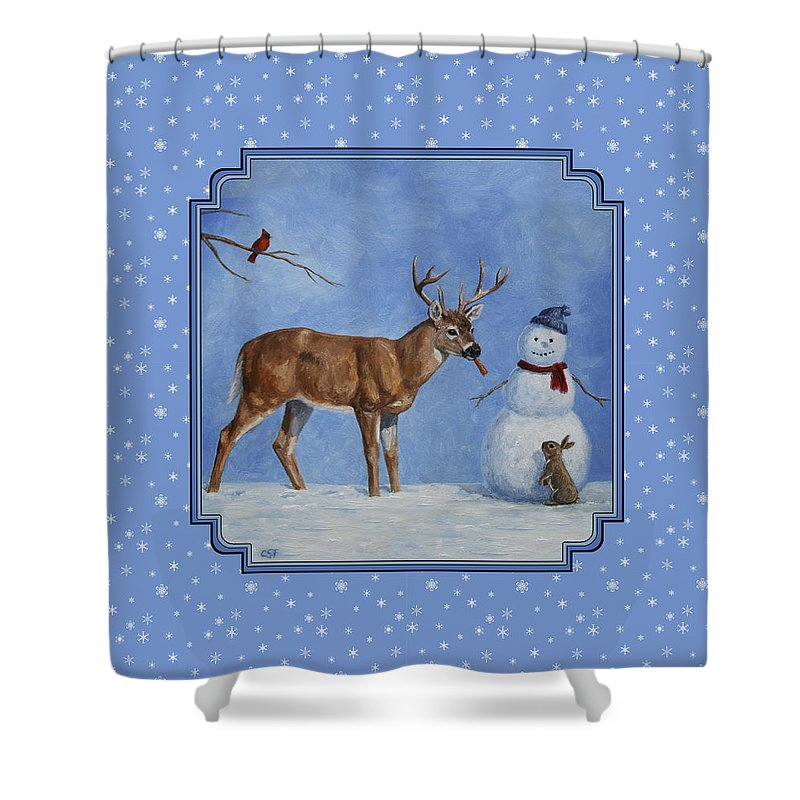 Deer Shower Curtain featuring the painting Whose Carrot Seasons Greeting by Crista Forest