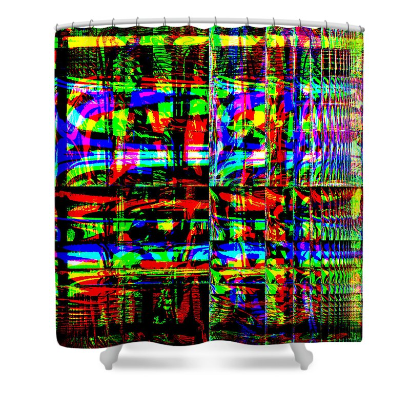 Red Shower Curtain featuring the digital art Arwoe by Blind Ape Art