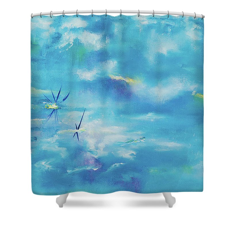 Glass Isle Series Shower Curtain featuring the painting As Above So Below by Dechen ART