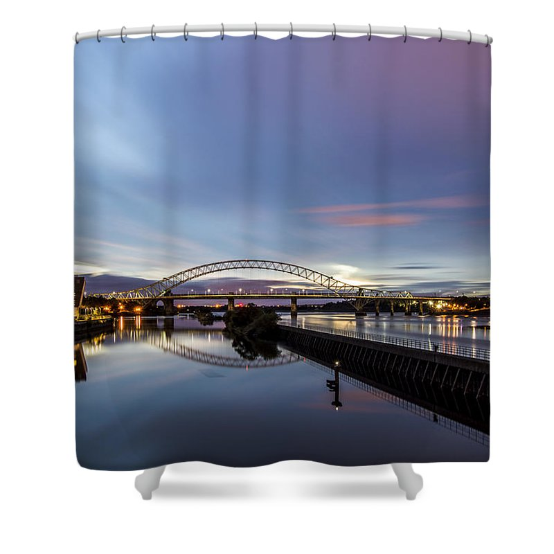 Runcorn Shower Curtain featuring the photograph As Day Turns To Night by Michael Pardoe