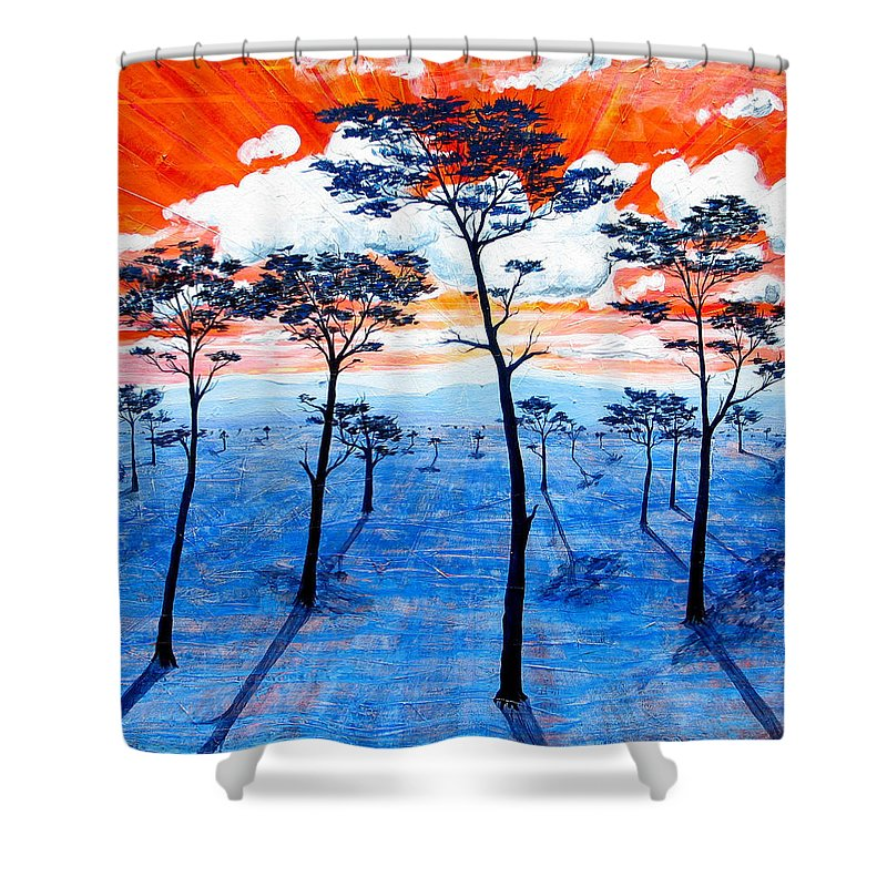 Landscape Shower Curtain featuring the painting As It Was In The Beginning by Rollin Kocsis
