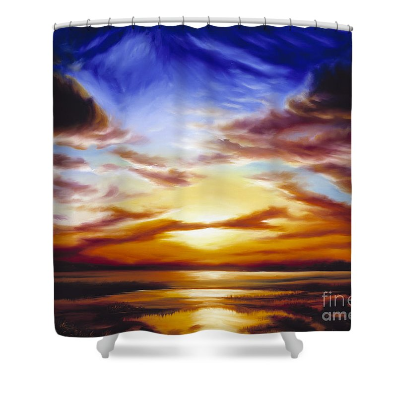 Skyscape Shower Curtain featuring the painting As The Sun Sets by James Christopher Hill