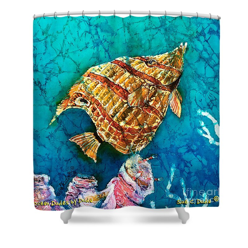 Beaked Butterflyfish Shower Curtain featuring the painting Ascending by Sue Duda