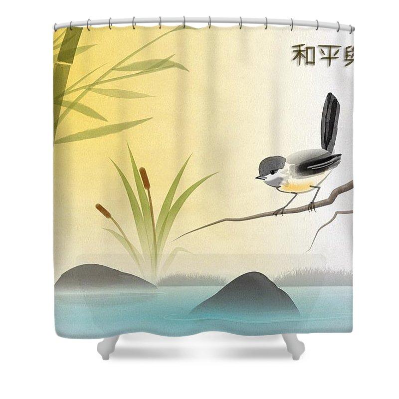 Bird Art Shower Curtain featuring the digital art Asian Art Chickadee Landscape by John Wills