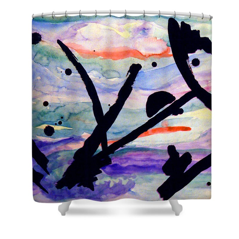 Abstract Shower Curtain featuring the painting Asian Impression by Steve Karol