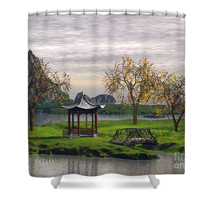 Landscape Shower Curtain featuring the digital art Asian Landscape by John Junek