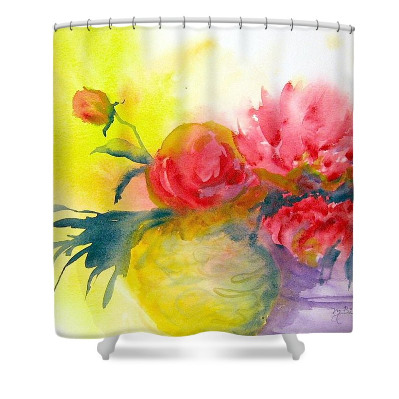 Peony Shower Curtain featuring the painting Asian Peonies by Marilyn Bishop