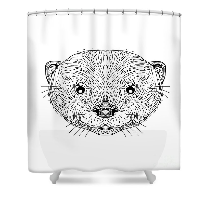 Illustration Shower Curtain Featuring The Digital Art Asian Small Clawed Otter Head Drawing By Aloysius